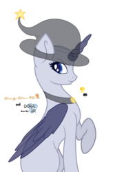 Size: 4000x5984 | Tagged: safe, artist:dianamur, artist:doraair, oc, oc only, alicorn, pony, alicorn oc, base, collaboration, hat, raised hoof, simple background, sitting, solo, transparent background, witch hat