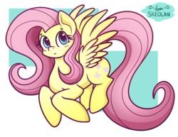 Size: 2968x2288 | Tagged: abstract background, artist:skeolan, cute, female, fluttershy, heart eyes, high res, looking at you, mare, pegasus, pony, safe, shyabetes, solo, spread wings, three quarter view, wingding eyes, wings