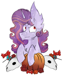 Size: 798x936 | Tagged: artist:hunterthewastelander, candy, chest fluff, commission, crystal pony, ear fluff, female, flower, food, impossibly large ears, mare, oc, oc:affinity heart, oc only, pony, pumpkin, safe, simple background, skull, solo, transparent background, unicorn, ych result