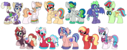 Size: 3117x1248 | Tagged: safe, artist:shelbi-cat, princess flurry heart, oc, oc:aurora rays, oc:callie le gata, oc:cranberry lemonade, oc:gala shield, oc:green apple, oc:indigo, oc:orchard blossom, oc:sodalite jazz, oc:storm shower, oc:sucker punch, alicorn, cat, cat pony, dragon, earth pony, hybrid, original species, pegasus, pony, unicorn, dragon oc, female, goggles, interspecies offspring, magical gay spawn, mare, next generation, offspring, parent:applejack, parent:big macintosh, parent:bulk biceps, parent:capper, parent:flash sentry, parent:fluttershy, parent:princess cadance, parent:princess ember, parent:rarity, parent:shining armor, parent:soarin', parent:spike, parent:sunset shimmer, parents:cadmac, parents:capperity, parents:emberspike, parents:flashimmer, parents:flutterbulk, parents:shiningmac, parents:soarinjack, parents:tempestpie, raised hoof, simple background, smiling, transparent background, unshorn fetlocks