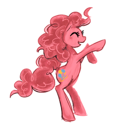Size: 550x563   Tagged: safe, artist:snelahestar, pinkie pie, earth pony, pony, cute, diapinkes, eyes closed, female, mare, open mouth, rearing, simple background, solo, white background