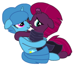 Size: 1089x954 | Tagged: safe, artist:徐詩珮, fizzlepop berrytwist, spring rain, tempest shadow, pony, unicorn, base used, broken horn, clothes, cute, female, horn, lesbian, scarf, shipping, simple background, springbetes, springshadow, tempestbetes, transparent background