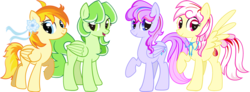 Size: 5939x2181 | Tagged: artist needed, safe, oc, oc only, oc:向阳花, oc:野雏菊, oc:雪花莲, oc:风信子, pegasus, pony, 2020 community collab, derpibooru community collaboration, female, group photo, high res, looking at you, mare, show accurate, simple background, transparent background