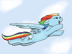 Size: 800x600 | Tagged: safe, anonymous artist, rainbow dash, pegasus, pony, /mlp/, female, flying, mare, open mouth, smiling, solo