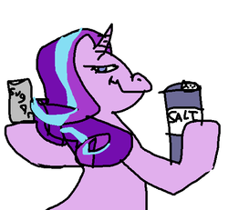 Size: 519x479 | Tagged: safe, anonymous artist, starlight glimmer, pony, unicorn, /mlp/, description is relevant, evil, evil grin, female, food, grin, hoof hold, looking back, mare, pure unfiltered evil, salt, simple background, smiling, solo, sugar (food), white background