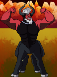Size: 867x1174 | Tagged: armpits, artist:teanorthlight, beard, centaur, cloven hooves, colored hooves, commission, evil grin, facial hair, flexing, grin, horns, looking at you, lord tirek, male, mohawk, mountain, muscles, nose piercing, nose ring, pecs, piercing, safe, smiling