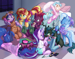 Size: 1600x1266   Tagged: safe, artist:dstears, cozy glow, princess luna, queen chrysalis, starlight glimmer, sunset shimmer, tempest shadow, trixie, twilight sparkle, alicorn, changeling, changeling queen, pegasus, pony, unicorn, a better ending for chrysalis, a better ending for cozy, angry, broken horn, brushing, clothes, costume, cozybetes, cute, cutealis, diatrixes, digital art, drink, evil grin, eye scar, eyes closed, female, filly, foal, food, footed sleeper, glimmerbetes, go-karting with bowser, grin, horn, imminent pillow fight, kigurumi, levitation, lipstick, lunabetes, lying down, madorable, magic, makeover, makeup, mare, mouth hold, pajamas, pajamas party, party, paw socks, phone, pillow, pillow fight, pizza, queen chrysalis is not amused, scar, shimmerbetes, sitting, slumber party, smiling, socks, striped socks, telekinesis, tempestbetes, thigh highs, twiabetes, twilight sparkle (alicorn), unamused