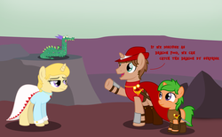 Size: 6451x4000 | Tagged: safe, artist:peternators, crackle, oc, oc:heroic armour, oc:light platinum, dragon, pony, unicorn, boots, cape, clothes, father and daughter, female, filly, happy, hat, male, mare, not amused face, rapier, red mage, shoes, smiling, stallion, sword, text, weapon, white mage