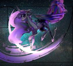 Size: 3052x2753 | Tagged: safe, artist:alumx, princess luna, alicorn, pony, chromatic aberration, curved horn, error, fibonacci spiral, glitch, golden ratio, horn, missing accessory, part of a set, solo, space, vent art
