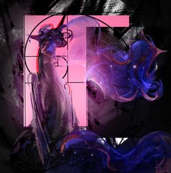 Size: 2391x2410 | Tagged: safe, artist:alumx, princess luna, alicorn, pony, error, fibonacci spiral, glitch, golden ratio, part of a set, solo, space, vent art