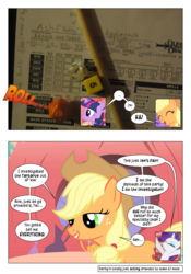 Size: 868x1239 | Tagged: applejack, artist:dziadek1990, comic, comic:sunny day, conversation, dialogue, dungeons and dragons, edit, edited screencap, golden oaks library, library, look before you sleep, narration, paper, pen and paper rpg, photo, rarity, rpg, safe, screencap, screencap comic, slice of life, tabletop game, text, twilight sparkle