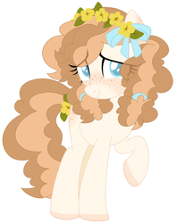 Size: 657x831 | Tagged: safe, oc, oc:buttercup, earth pony, pony, blushing, buttercup, curly hair, female, flower, flower in hair, freckles, mare, shy, smiling, solo