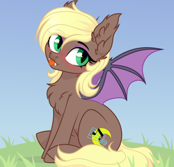 Size: 3772x3640 | Tagged: safe, artist:rioshi, artist:sparkling_light, artist:starshade, oc, oc only, oc:midnight song, bat pony, pony, bat pony oc, blushing, chest fluff, ear fluff, fangs, female, looking at you, mare, sitting, slit eyes, slit pupils, solo, tongue out