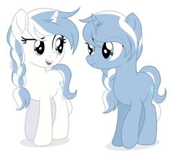 Size: 2527x2286 | Tagged: safe, artist:rioshi, artist:starshade, oc, oc only, oc:coldsnap, oc:frostbite, pony, unicorn, braid, duo, eye contact, female, looking at each other, mare, siblings, simple background, sisters, twin sisters, twins, white background