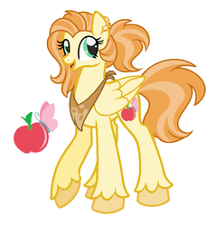 Size: 794x830 | Tagged: apple, artist:wiseunicorn, base used, cutie mark, ear piercing, earring, female, food, jewelry, long legs, mare, neckerchief, oc, oc only, offspring, parent:big macintosh, parent:fluttershy, parents:fluttermac, pegasus, piercing, pony, safe, simple background, tall, unshorn fetlocks, white background