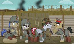 Size: 6000x3600 | Tagged: annoyed, artist:a4r91n, bandage, barbed wire, bayonet, clothes, crossed hooves, earth pony, german, grenade, gun, handgun, hold, hoof hold, hooves, kriegtavia, luger, magic, messy mane, military uniform, oc, octavia melody, pegasus, pistol, safe, screaming, sitting, smug, stahlhelm, stielhandgranate, tail wrap, telekinesis, trench, unicorn, uniform, weapon, world war i