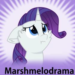Size: 1024x1024 | Tagged: safe, artist:rainbow eevee, rarity, pony, unicorn, derpibooru, :t, cute, daaaaaaaaaaaw, ear fluff, female, floppy ears, mare, marshmelodrama, meta, raribetes, rarity being rarity, solo, spoilered image joke