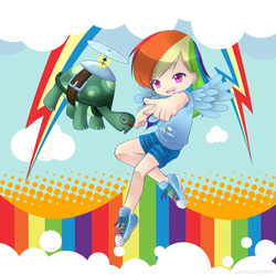 Size: 2500x2500 | Tagged: artist:chiwowa, clothes, colored pupils, cute, cutie mark, dashabetes, duo, female, flight, flying, high res, human, humanized, legs, male, open mouth, pixiv, pointing, rainbow, rainbow dash, safe, shoes, shorts, sneakers, tank, winged humanization, wings