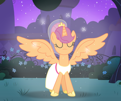 Size: 979x816 | Tagged: safe, artist:csillaghullo, artist:missxxfofa123, artist:selenaede, scootaloo, alicorn, pegasus, pony, alicornified, alternate hairstyle, base used, clothes, dress, female, hoof shoes, mare, marriage, older, older scootaloo, race swap, scootacorn, solo, wedding, wedding dress, wedding veil