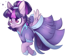 Size: 2209x1918 | Tagged: safe, artist:cutepencilcase, twilight sparkle, alicorn, pony, the last problem, spoiler:s09e26, alternate hairstyle, cheek fluff, clothes, coronation dress, cute, dress, ear fluff, female, hoof shoes, leg fluff, mare, open mouth, outline, second coronation dress, simple background, solo, transparent background, twiabetes, twilight sparkle (alicorn), two toned wings, wings