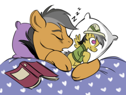 Size: 1011x764 | Tagged: safe, artist:nelfs, daring do, quibble pants, earth pony, pony, stranger than fan fiction, bed, blanket, body pillow, book, cute, daring daki, eyes closed, male, pillow, profile, quibblebetes, sleeping, solo, stallion