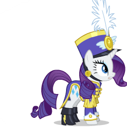 Size: 250x250 | Tagged: ancient wonderbolts uniform, animated, animated png, artist:sasha-flyer, clothes, derpibooru, juxtaposition, juxtaposition win, meme, meta, multi image animation, offscreen character, rainbow dash, rarity, safe, sgt. rarity, simple background, solo, solo focus, testing testing 1-2-3, transparent background, uniform, vector