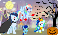 Size: 1200x720 | Tagged: safe, artist:mlplary6, rainbow dash, soarin', oc, oc:blue skies, oc:speedy dash, pony, undead, vampire, zombie, baby, baby pony, base used, family, female, frankenstein's monster, halloween, holiday, jack-o-lantern, male, nightmare night, offspring, parent:rainbow dash, parent:soarin', parents:soarindash, pumpkin, shipping, soarindash, straight, wonder woman