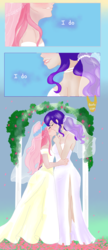 Size: 1142x2632 | Tagged: artist:piccolavolpe, clothes, dialogue, dress, female, flarity, floral head wreath, flower, fluttershy, human, humanized, jewelry, kissing, lesbian, marriage, necklace, pearl necklace, rarity, safe, shipping, wedding, wedding arch, wedding dress, wedding gown