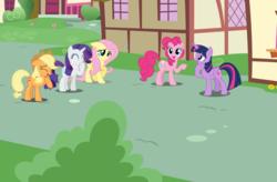 Size: 1920x1260 | Tagged: safe, artist:dashiesparkle, artist:estories, artist:frownfactory, artist:illumnious, artist:jerryakiraclassics19, applejack, fluttershy, pinkie pie, rainbow dash, rarity, twilight sparkle, alicorn, earth pony, pegasus, pony, unicorn, female, hat, mane six, micro, ponyville, story included, tiny, tiny ponies, twilight sparkle (alicorn)