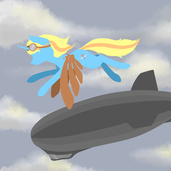 Size: 3000x3000 | Tagged: airship, artificial wings, artist:fluka, augmented, female, flight goggles, flying, goggles, mare, oc, oc only, oc:skydreams, pony, safe, unicorn, wings, zeppelin