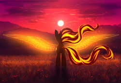 Size: 2925x2000 | Tagged: artificial wings, artist:avrameow, augmented, both cutie marks, female, flowing mane, flowing tail, grass, looking away, magic, magic wings, mare, nature, outdoors, pony, safe, solo, spread wings, sunset, sunset shimmer, unicorn, wings