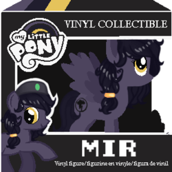 Size: 287x287 | Tagged: artist:mimimari, beret, dashite, female, funko, funko pop!, hat, hooves, leg lifted, leg raise, looking back, oc, oc:mir, oc only, pegasus, pixel art, safe, simple background, toy, transparent background, vinyl figure, wings, ych result