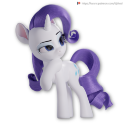 Size: 1500x1500 | Tagged: 3d, 3d model, artist:therealdjthed, blender, cycles, cycles render, female, mare, patreon, patreon logo, pony, rarity, safe, simple background, solo, thinking, transparent background, unicorn