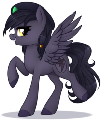 Size: 1566x1853 | Tagged: artist:kannakiller, beret, dashite, edit, female, grin, hat, hooves, leg lifted, leg raise, looking back, oc, oc:mir, oc only, pegasus, pose, safe, simple background, smiling, sticker, transparent background, wings, ych result