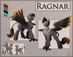 Size: 4000x3100 | Tagged: absurd resolution, artist:elicitie, barrel chest, blue eyes, cell shaded, colored, color palette, front view, griffon wings, hippogriff, hybrid, large wings, male, oc, oc:ragnar, reference sheet, safe, side view, simple background, size chart, size comparison, skeptical, smiling, smirk, tail, tail fluff, tall, talons, three quarter view, two tone coat, two toned mane, two toned tail, two toned wings, wings