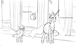 Size: 3600x2200 | Tagged: alicorn, anonicorn, bird, catasterism, clothes, costume, earth, floating, momlestia, nightmare night, oc, oc:anon, orbit, pony, princess celestia, pun, raven, raven (bird), safe, sun, visual pun
