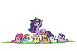 Size: 1200x798 | Tagged: safe, artist:tjpones, applejack, fluttershy, pinkie pie, rainbow dash, rarity, starlight glimmer, twilight sparkle, alicorn, earth pony, pegasus, pony, unicorn, the last problem, big crown thingy 2.0, female, mane six, older, older applejack, older fluttershy, older mane six, older pinkie pie, older rainbow dash, older rarity, older starlight glimmer, older twilight, one of these things is not like the others, princess twilight 2.0, simple background, smol, squatpony, the tables have turned, twiggie, twilight sparkle (alicorn), white background, woonoggles