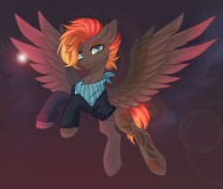 Size: 2070x1756 | Tagged: safe, artist:magicbalance, oc, oc only, oc:ebony winds, pegasus, pony, cheek fluff, chest fluff, female, gradient background, lens flare, looking at you, mare, solo