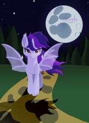 Size: 2550x3507 | Tagged: safe, artist:aresshia, oc, oc:midnight moonlight, pony, unicorn, vampire, vampony, digital art, female, lunar rabbit, moon, night, shadow, street
