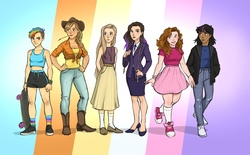 Size: 4940x3059 | Tagged: safe, artist:olyastark, applejack, fluttershy, pinkie pie, rainbow dash, rarity, twilight sparkle, human, alternate hairstyle, applejack's hat, bandaid, belt, boots, bracelet, clothes, converse, cowboy boots, cowboy hat, dark skin, delicious flat chest, ear piercing, earring, eyebrow piercing, female, flannel, flats, freckles, hat, high heels, hoodie, humanized, jeans, jewelry, long skirt, mane six, measuring tape, midriff, natural hair color, necklace, necktie, pants, piercing, rainbow flat, rainbow socks, redhead, shirt, shoes, shorts, skateboard, skirt, sleeveless, sneakers, socks, sports bra, sports shorts, stockings, straw in mouth, striped socks, suit, tanktop, thigh highs, torn clothes, wall of tags
