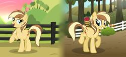 Size: 3609x1629 | Tagged: safe, artist:galaxyswirlsyt, oc, oc:apple pie, earth pony, pony, base used, female, mare, offspring, older, parent:applejack, parent:caramel, parents:carajack, solo