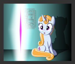 Size: 1400x1179 | Tagged: artist:aquilateagle, circuit, curly mane, cutie mark, female, friendship student, mare, portal, rift, safe, season 8, shadow, solo, spoiler:s08, summer meadow, unicorn, vector