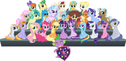 Size: 4905x2380 | Tagged: safe, artist:jhayarr23, applejack, auburn vision, berry blend, berry bliss, citrine spark, clever musings, fire quacker, fluttershy, gallus, huckleberry, november rain, ocellus, peppermint goldylinks, pinkie pie, rainbow dash, rarity, sandbar, silverstream, slate sentiments, smolder, spike, starlight glimmer, strawberry scoop, sugar maple, summer breeze, summer meadow, twilight sparkle, yona, alicorn, changedling, changeling, classical hippogriff, dragon, griffon, hippogriff, pegasus, pony, unicorn, yak, school daze, background pony, berry harvest, calligraphy, dragoness, female, flora petunia, friendship always wins, friendship student, ice treat, jewelry, male, mane seven, mane six, mangosteens, mare, necklace, rainstorm cloud, school of friendship, simple background, stallion, student six, transparent background, twilight sparkle (alicorn), vector