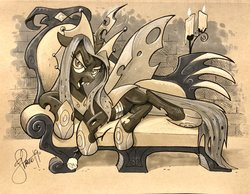 Size: 2048x1588   Tagged: safe, artist:andypriceart, queen chrysalis, changeling, changeling queen, idw, the ending of the end, spoiler:comic, changelings in the comments, female, lounging, solo, traditional art, ultimate chrysalis