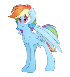 Size: 3000x3300 | Tagged: safe, artist:fluffyxai, rainbow dash, pegasus, pony, alternate hairstyle, concerned, female, frown, high res, mare, open mouth, perplexed, simple background, solo, spread wings, standing, three quarter view, transparent background, wings, worried