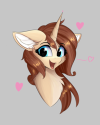 Size: 960x1200 | Tagged: artist:lunar froxy, bust, cheek fluff, chest fluff, ear fluff, female, fluffy, gray background, happy, heart, looking at you, oc, oc:ilonå, oc only, pony, portrait, safe, simple background, solo, unicorn, wingding eyes