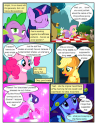 Size: 612x792 | Tagged: angel bunny, animal, applejack, artist:newbiespud, bear, bread, clothes, comic, comic:friendship is dragons, cup, dialogue, dragon, dress, edit, edited screencap, eyes closed, fake beard, female, ferret, fluttershy, food, freckles, grin, harry, hat, male, mare, picnic blanket, pinkie pie, pony, rabbit, rarity, safe, screencap, screencap comic, slit eyes, smiling, spike, squirrel, star swirl the bearded costume, teacup, teapot, toast, twilight sparkle, unicorn, unicorn twilight, worried