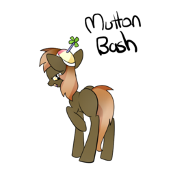 Size: 500x500 | Tagged: artist:wisheslotus, button mash, colt, hat, looking back, male, mutton bash, propeller hat, raised hoof, safe, simple background, smiling, smirk, solo, transparent background