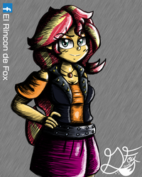 Size: 1000x1250 | Tagged: artist:thedamneddarklyfox, belt, clothes, equestria girls, hand on hip, human, jacket, jewelry, leather jacket, looking at you, miniskirt, safe, simple background, skirt, smiling, smiling at you, solo, sunset shimmer