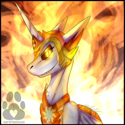 Size: 2500x2500 | Tagged: safe, artist:karsithedog, daybreaker, alicorn, pony, bust, female, fire, grin, helmet, jewelry, lidded eyes, looking at you, mane of fire, mare, regalia, sharp teeth, smiling, solo, teeth
